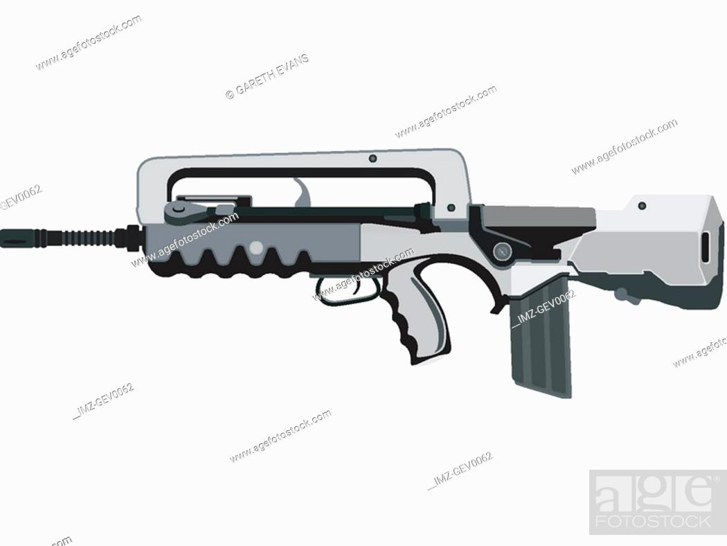 A closeup of a FAMAS-F1 assault rifle widely used in the