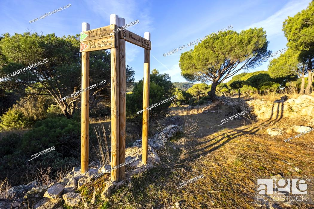 Stock Photo: Signals at Path of the Woman stream. Avila. Spain. Europe.