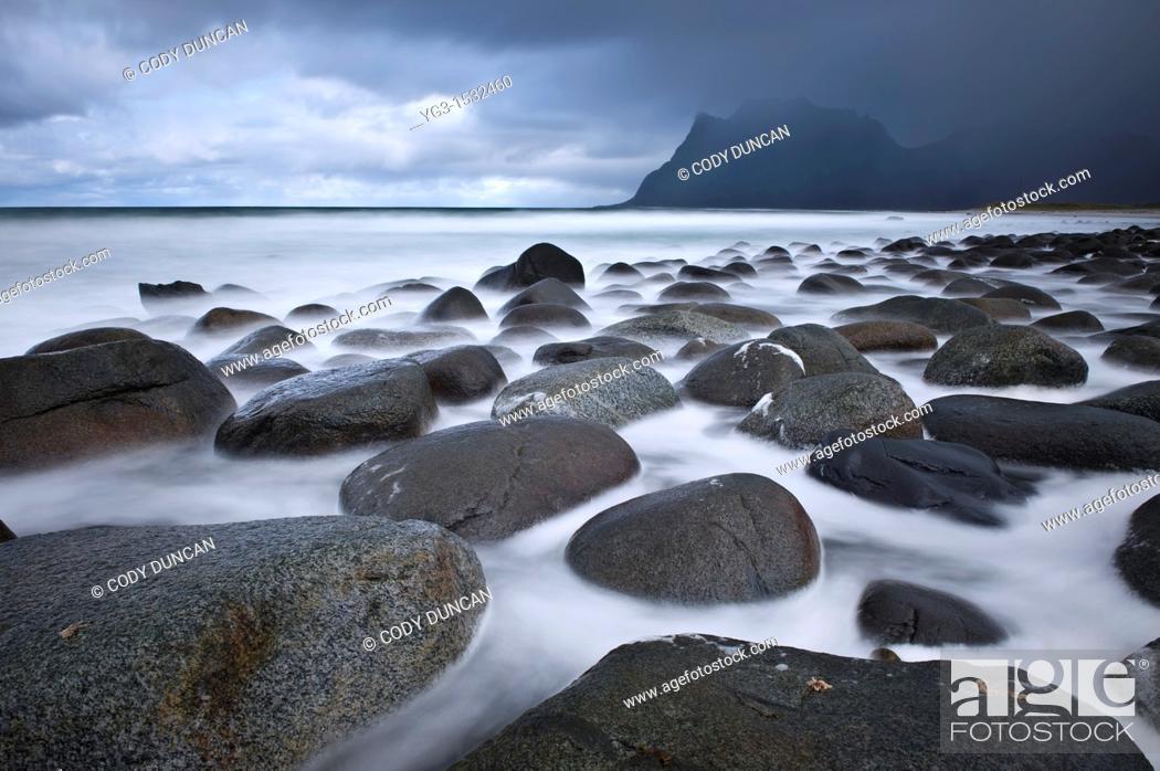 Stock Photo: Tidal rock at Utakleiv beach, Vestvagøy, Lofoten islands, Norway.