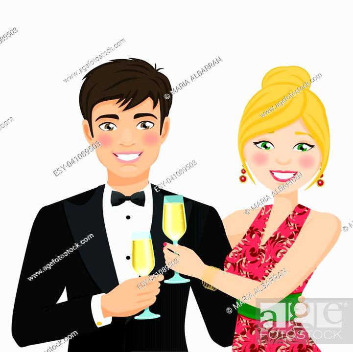 Stock Vector: A man and a woman with fancy clothes. Vector illustration.