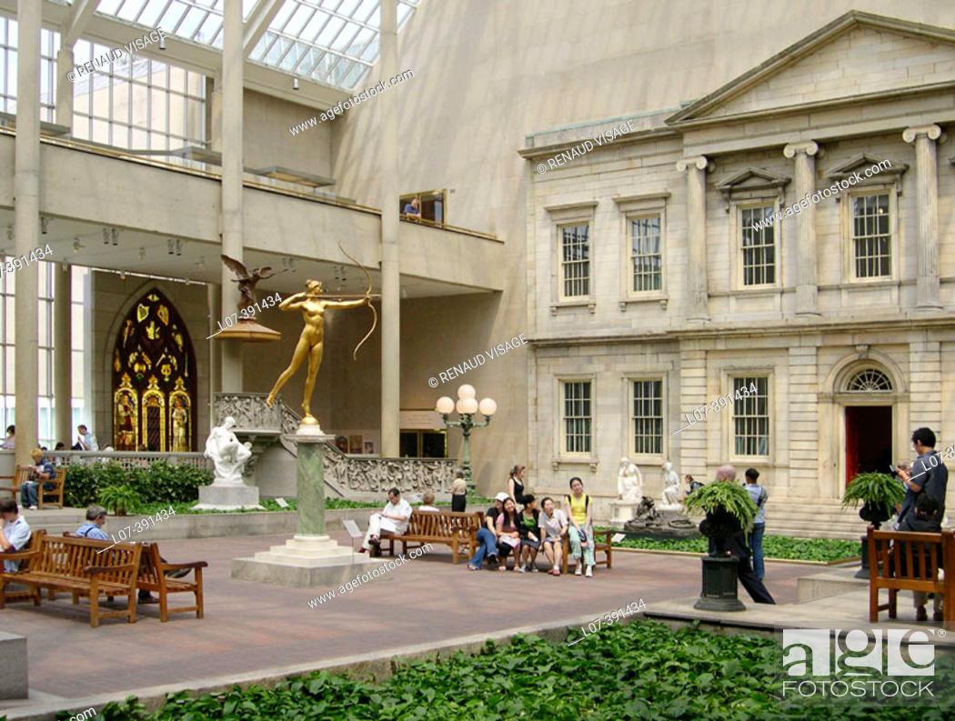Stock Photo: Charles Engelhard Court in the American Wing. Metropolitan Museum of Art. New York City. USA.