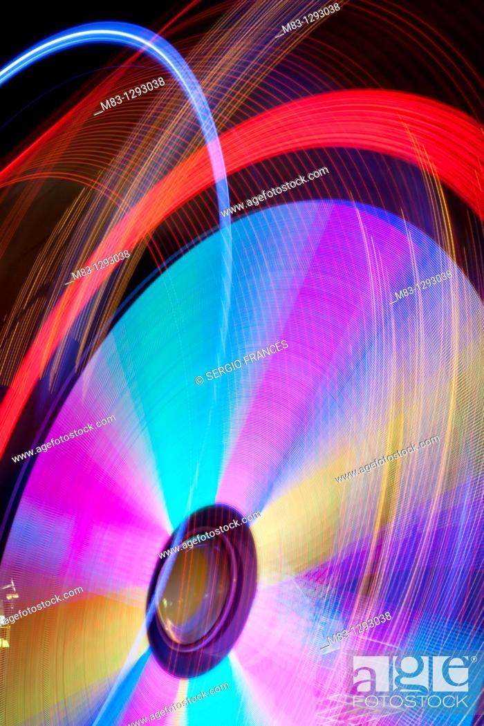 Stock Photo: Light trail, Ontinyent's fair.