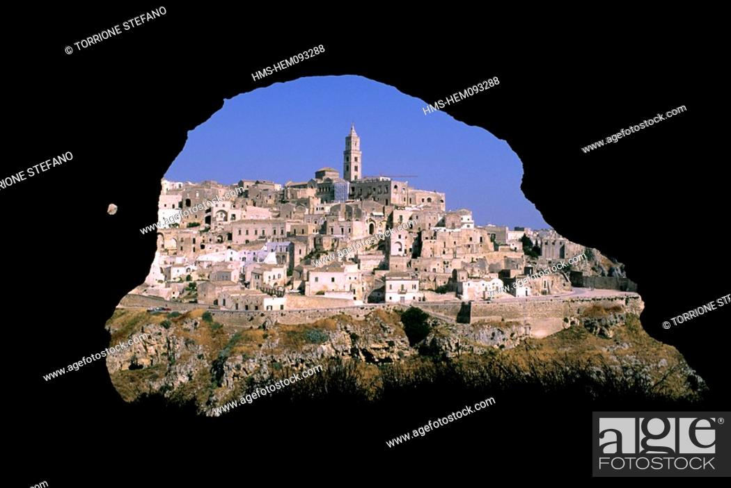 Italy basilicata matera sassi unesco world heritage stock photo stock photo italy basilicata matera sassi unesco world heritage view of the sassi from a cave of murgia timone gumiabroncs Images