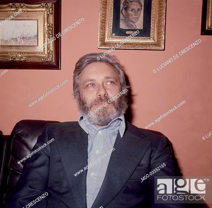 Italian Writer And Director Luciano De Crescenzo Sitting In