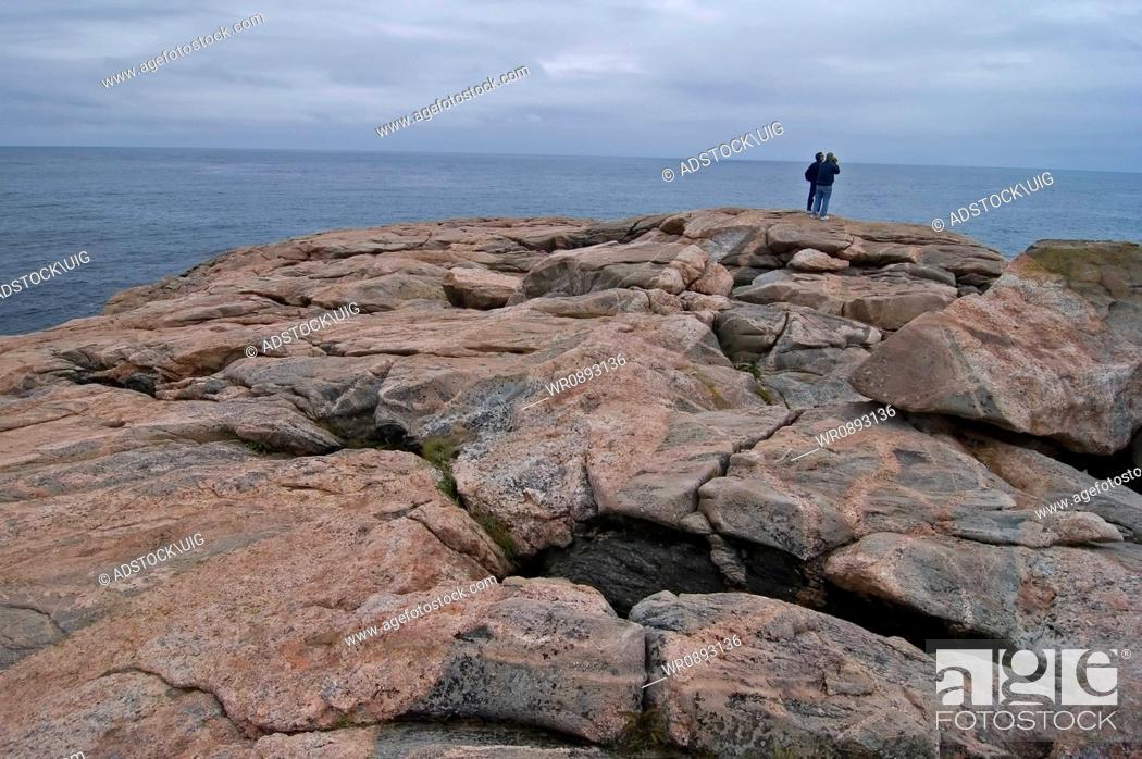 Stock Photo: Rocky Coast, Green Cove, Cape Breton Highlands Nat Park, Nova Scotia, Canada, Weathered Granite Shore.