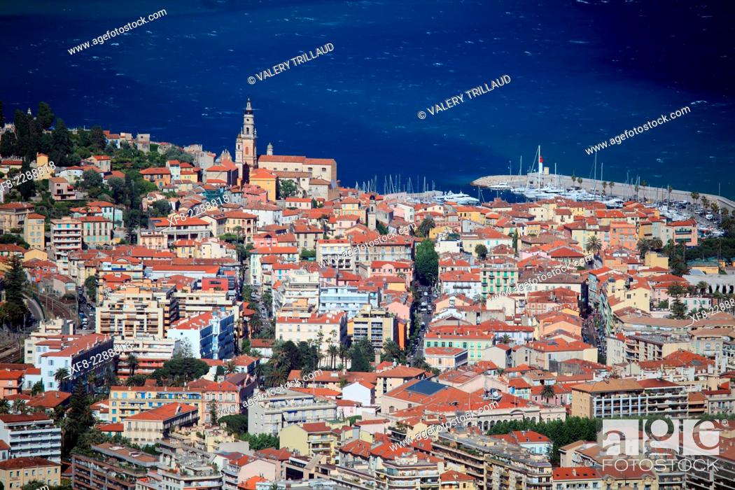 Stock Photo: Top view above the city of Menton, Alpes-Maritimes, Provence-Alpes-Côte d'Azur, France.