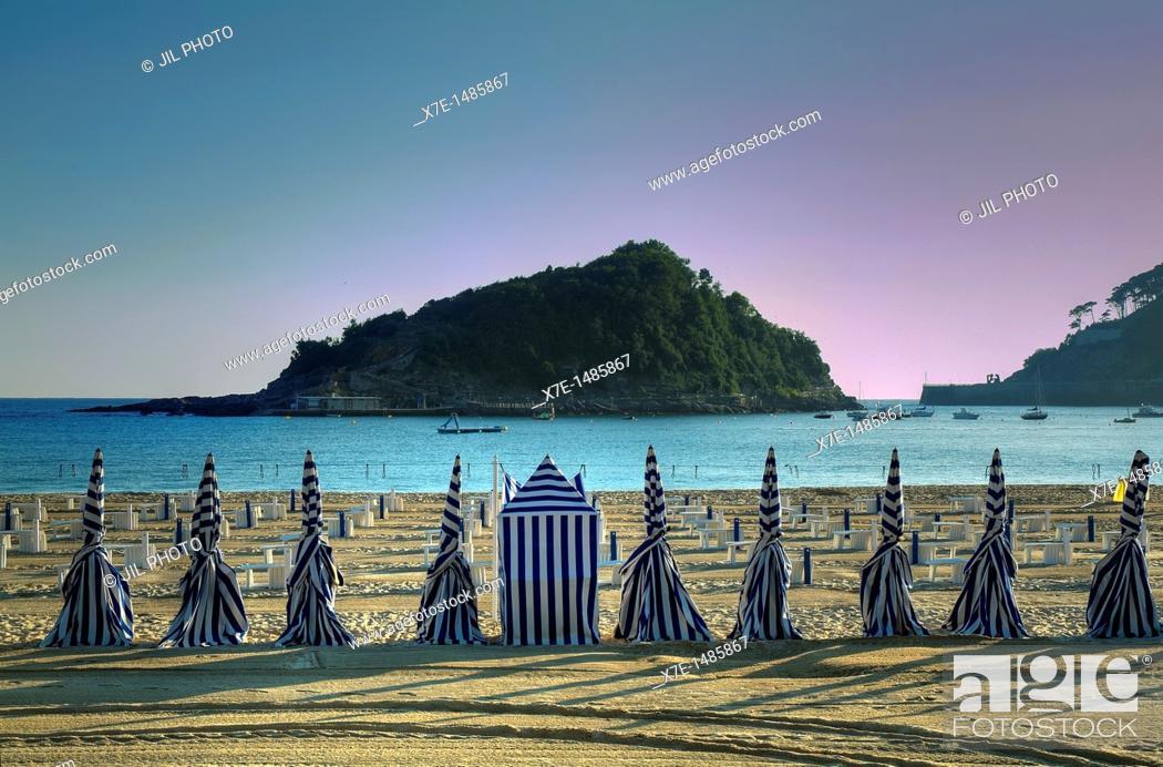 Stock Photo: Ondarreta beach  La Concha Bay  Donostia-San Sebastian  European Capital of Culture 2016.