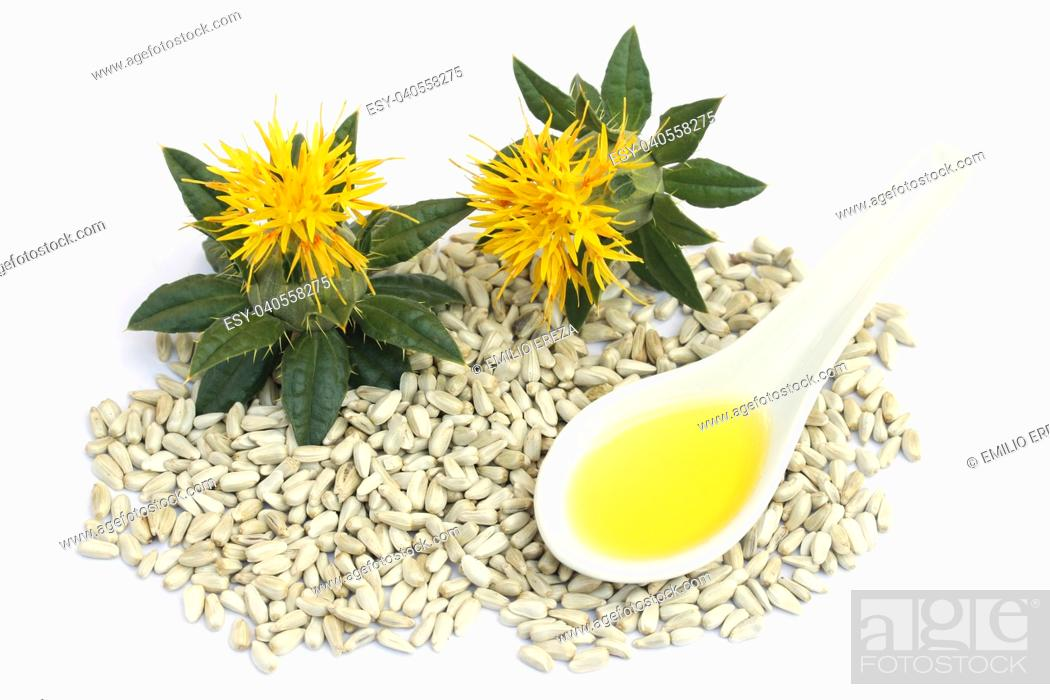 Stock Photo: Safflower seeds and oil.