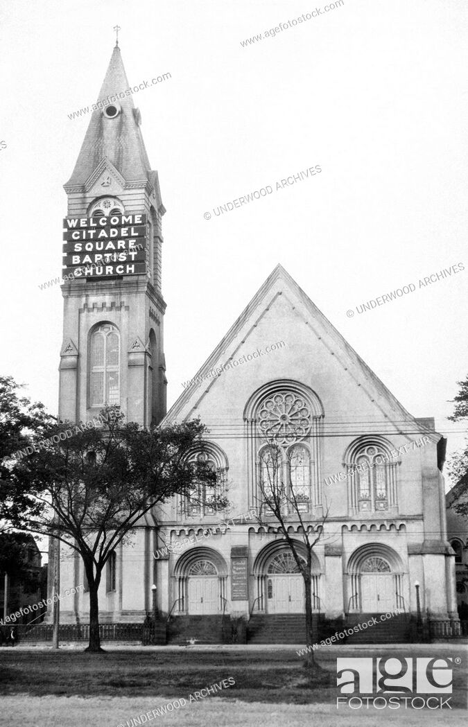 Stock Photo: Charleston, South Carolina: c. 1921 The Citadel Square Baptist Church uses a big electric sign on its steeple to welcome visitors.