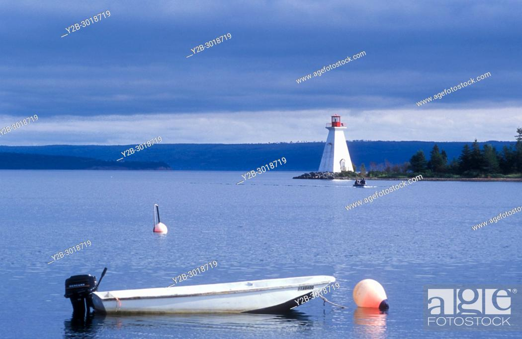 Stock Photo: Lighthouse at baddeck on cape breton island in nova scotia.