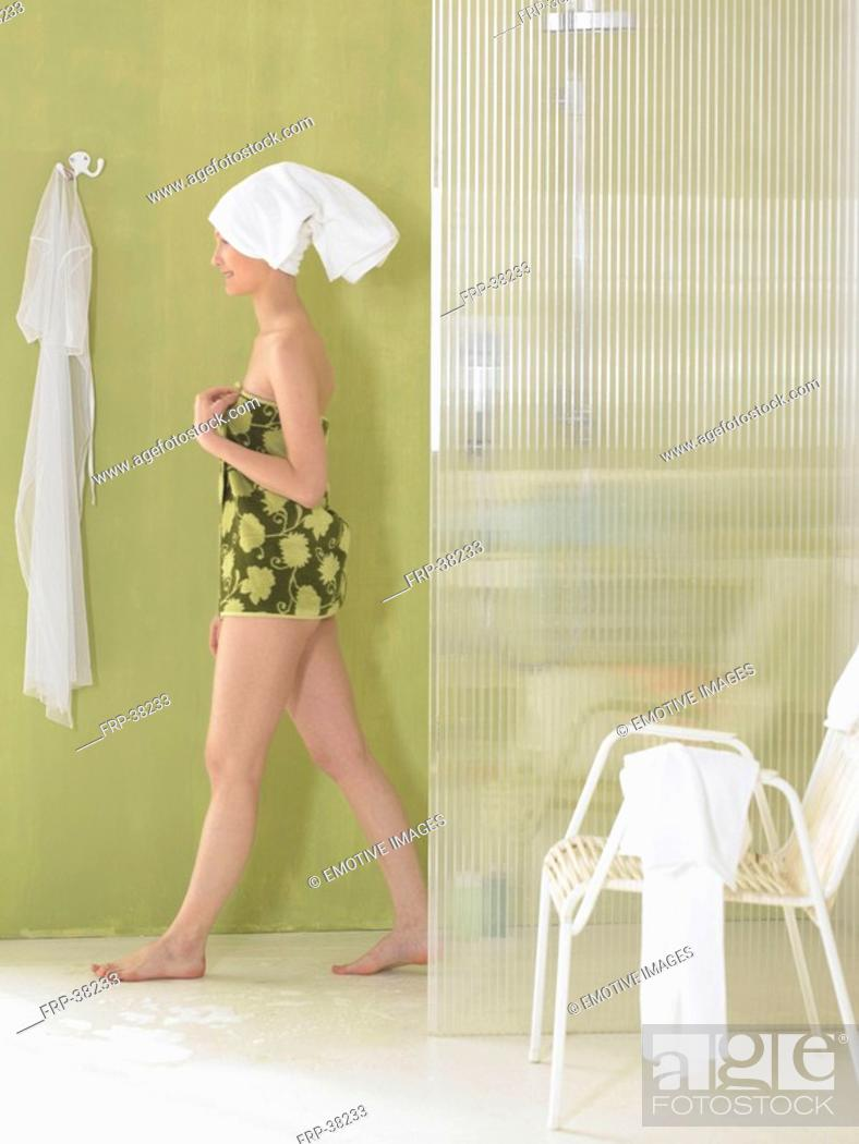 Stock Photo: Woman getting out of shower.