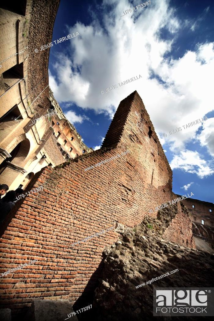 Stock Photo: Bottom view of the Colosseum  Rome  Italy  Europe, Lazio.