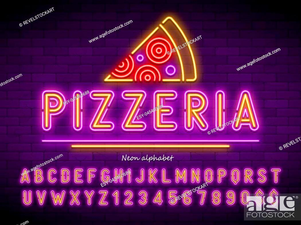 Stock Vector: Pizzeria neon light alphabet, extra glowing font. Exclusive swatch color control.