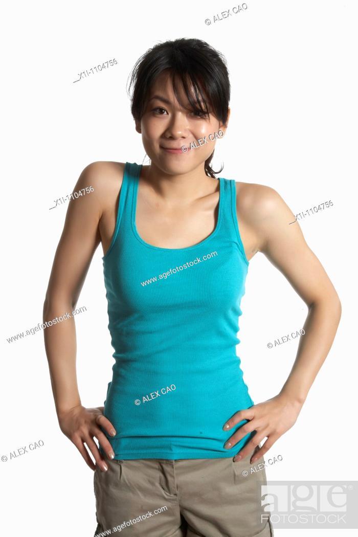 Stock Photo: Asian woman in tanktop.