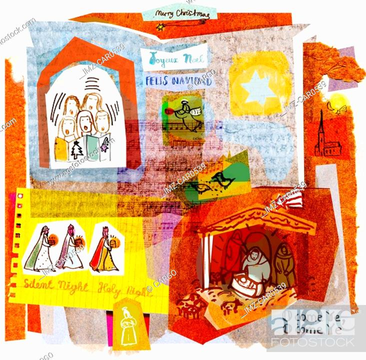 Stock Photo: A collage illustration of Christmas carols,angels,singers,and the Nativity.