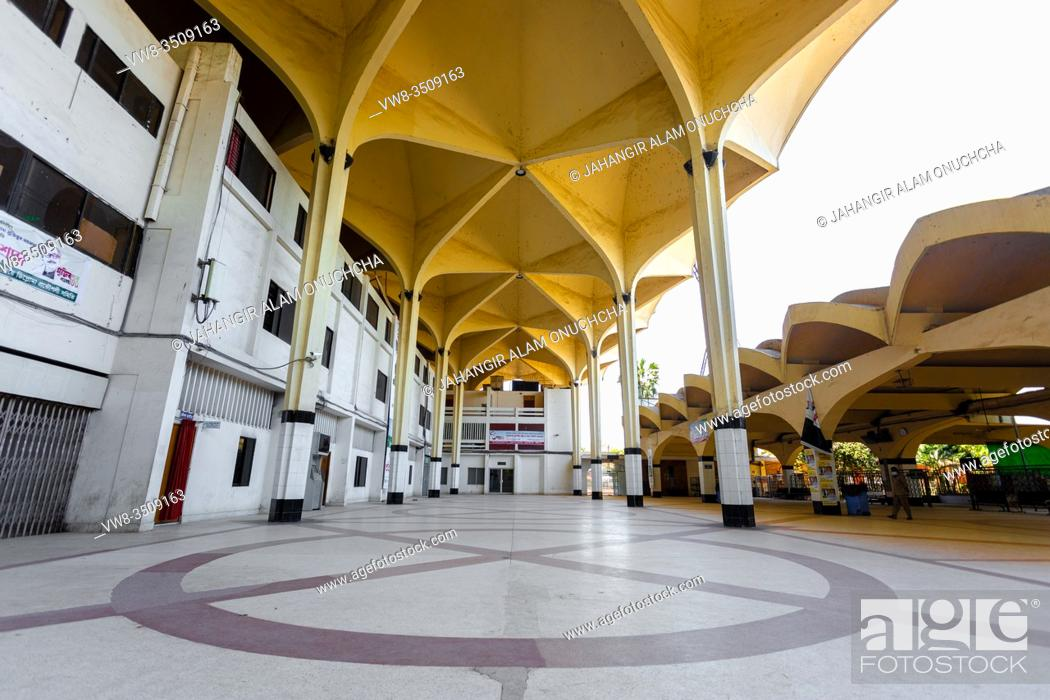 """Stock Photo: Bangladesh â. """" March 30, 2020: Empty front view of the largest train station in the country at Dhaka Kamalapur Railway Station, Bangladesh."""