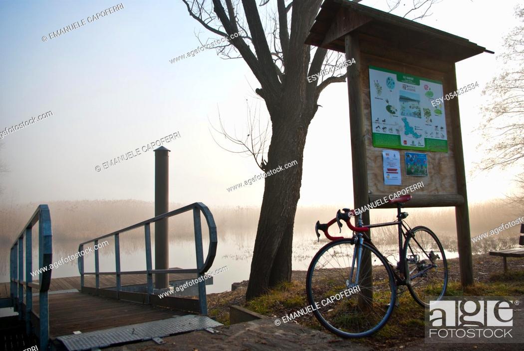 Stock Photo: Sunrise on the lake, Biandronno, Varese, Lombardy, Italy.