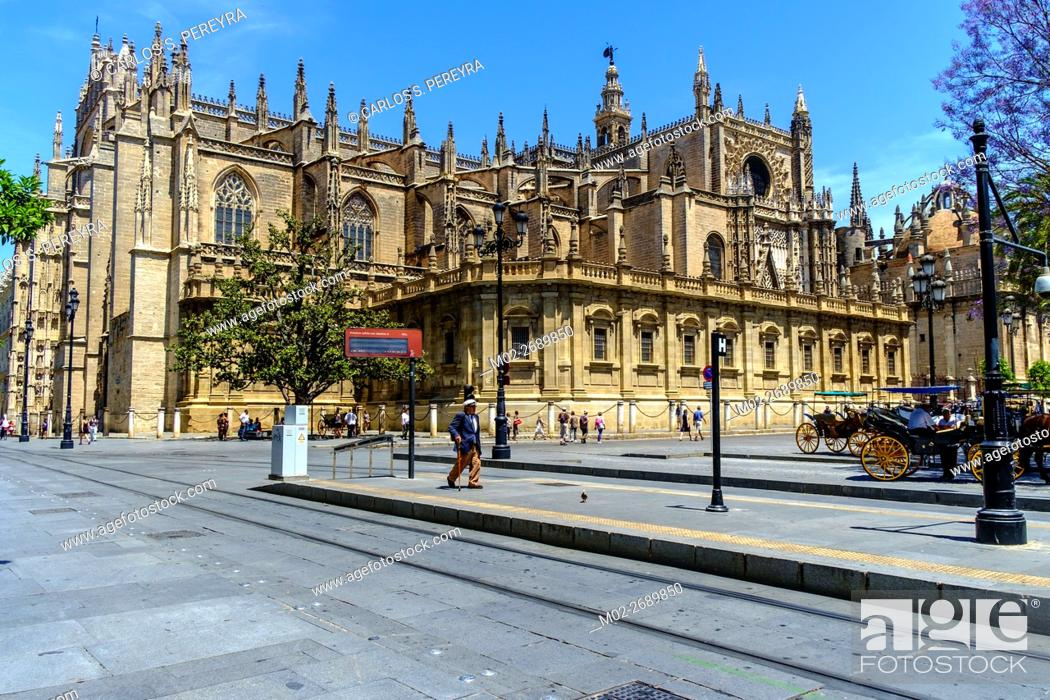 Seville Cathedral Catedral De Sevilla Gothic Style Architecture In Spain Where Columbus Tomb Is Stock Photo Picture And Rights Managed Image Pic M02 2689850 Agefotostock