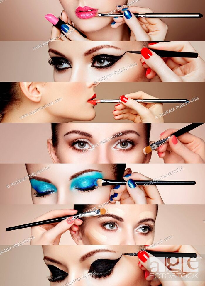 Stock Photo: Beauty collage. Faces of women. Fashion photo. Makeup artist applies lipstick and eye shadow.