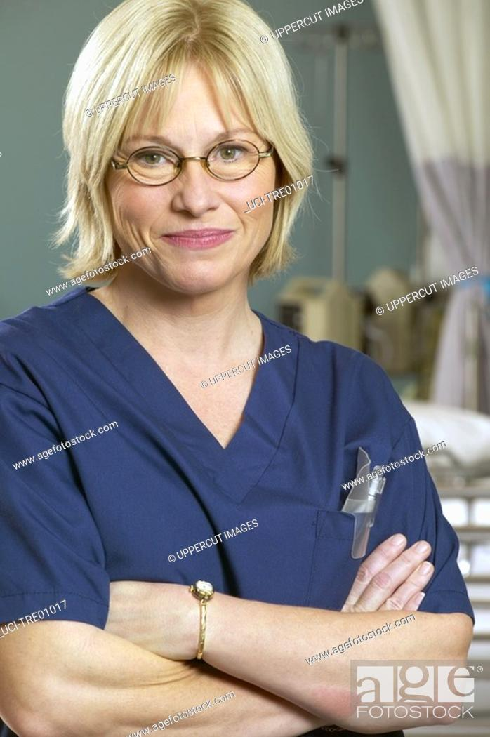 Stock Photo: Female nurse in glasses.
