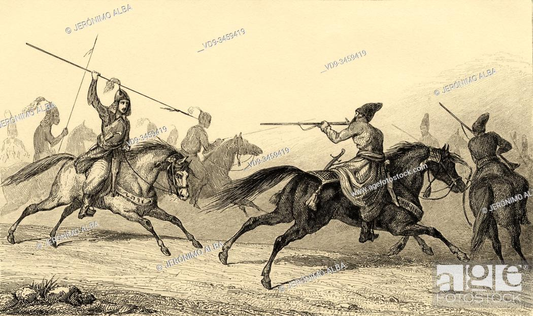 Stock Photo: Key-Kadj. Exercise of KeyKadj cavalry. Iran. Old steel engraved antique print. Published in L'Univers La Perse, in 1841. History of the ancient Persian empire.