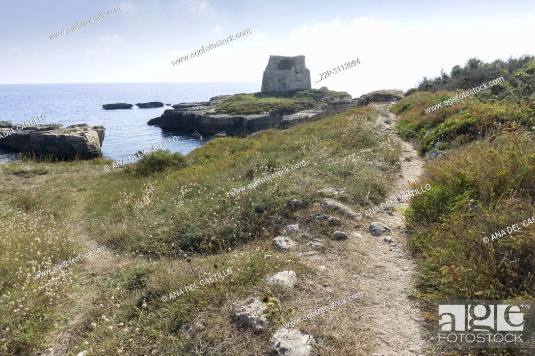Stock Photo: The most beautiful coast of Apulia: Torre Dell'Orso Bay in Puglia Italy Rocca Vecchia ruines.