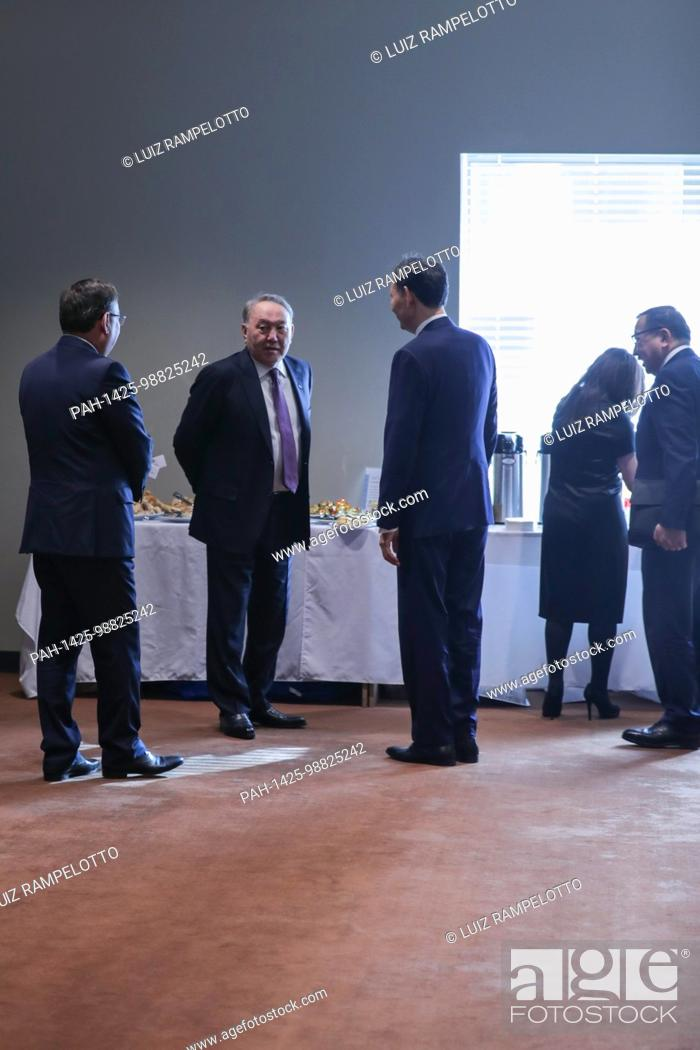 Stock Photo: United Nations, New York, USA, January 18 2018 - Nursultan A. Nazarbayev, President of the Republic of Kazakhstan and President of the Security Council for the.