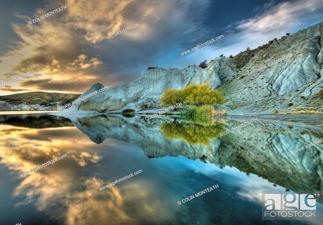 Stock Photo: Blue Lake reflection, autumn dawn, St Bathan's, Central Otago.