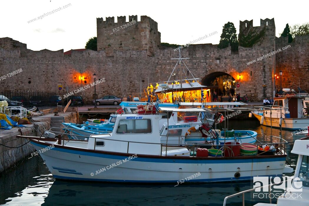 Stock Photo: Fishing boats and walls at the commercial port, City of Rhodes, Rhodes Island, Dodecanese, Greece, Mediterranean Sea.