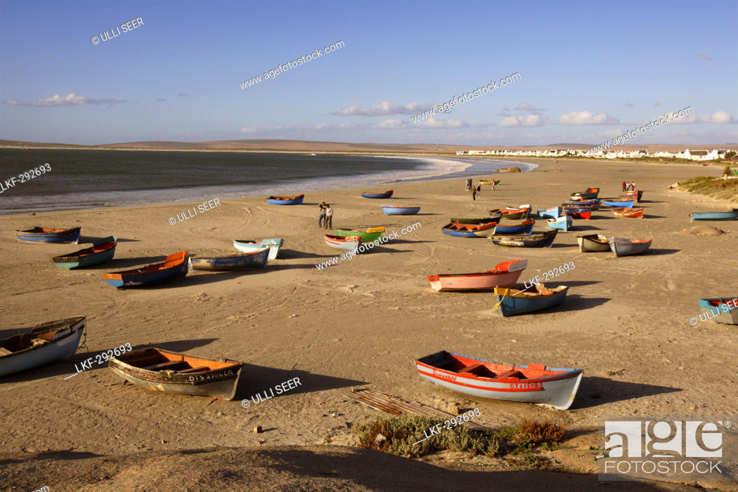 Stock Photo: Rowboats at beach, Paternoster, Western Cape, South Africa.