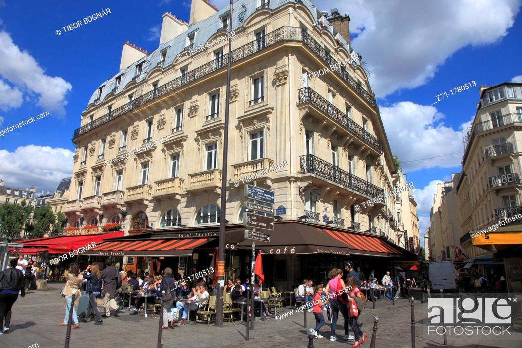 Stock Photo: France, Paris, Boulevard St-Michel, cafe, people, street scene,.