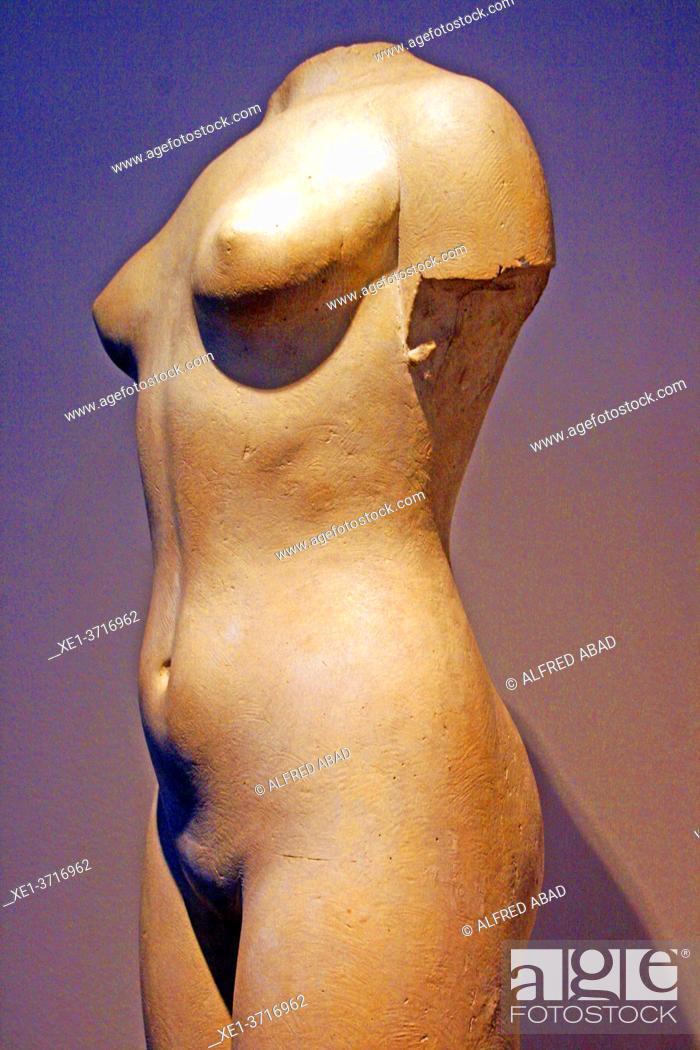 Stock Photo: sculpture of woman, Enric Monjo Museum, Vilassar de Mar, Catalunya, Spain.