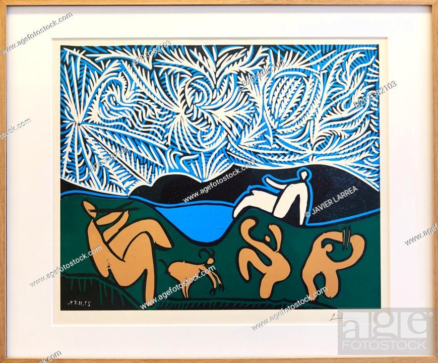 """Stock Photo: """"Bacchanale avec chevreau et spectateur"""", 1959, Pablo Picasso, Picasso Museum, Paris, France, Europe."""