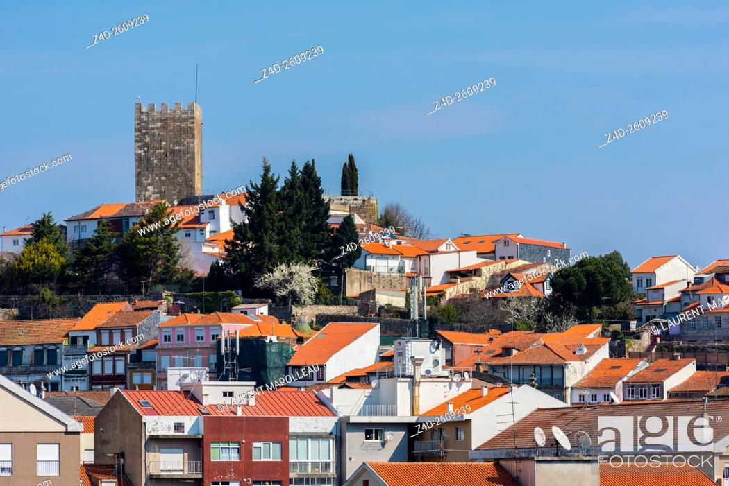 Stock Photo: Castle and Town of Lamego, Viseu District, Norte Region, Portugal, Europe.