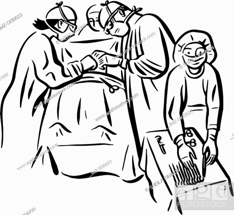 Stock Photo: Surgeons performing a surgery at the operating room.