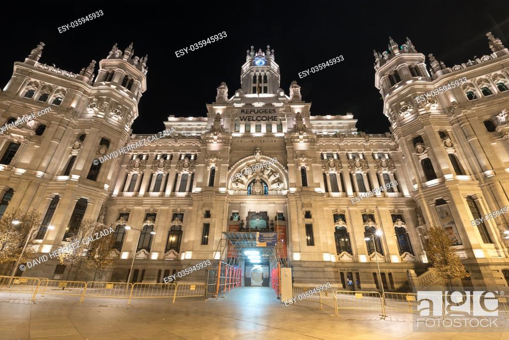 Stock Photo: Cibeles Palace night scene (Palacio de Cibeles) is the City Hall of Madrid.