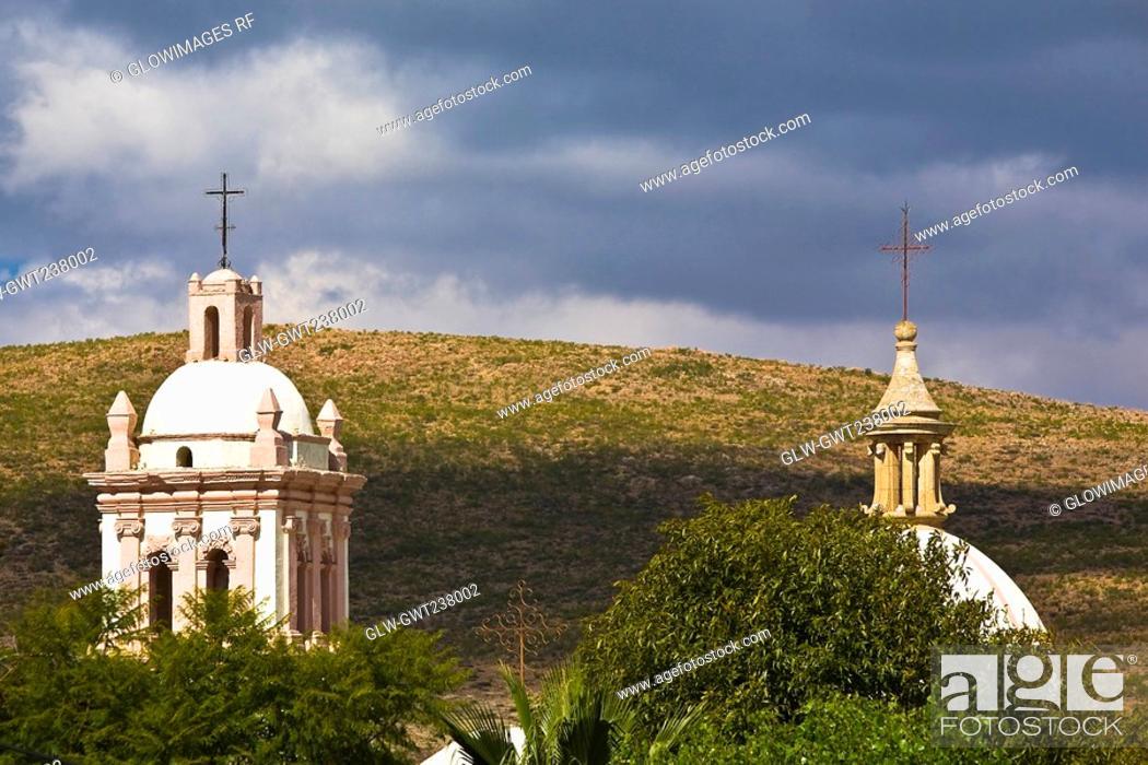 Stock Photo: High section view of a church, Iglesia De Nuestra Senora De Belen, Real De Asientos, Aguascalientes, Mexico.