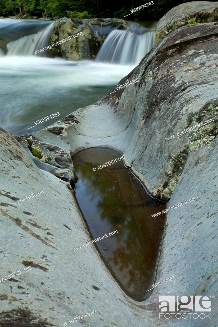 Stock Photo: Water-Carver Rock, Little Pigeon River, Greenbrier, Smokies NP, TN.