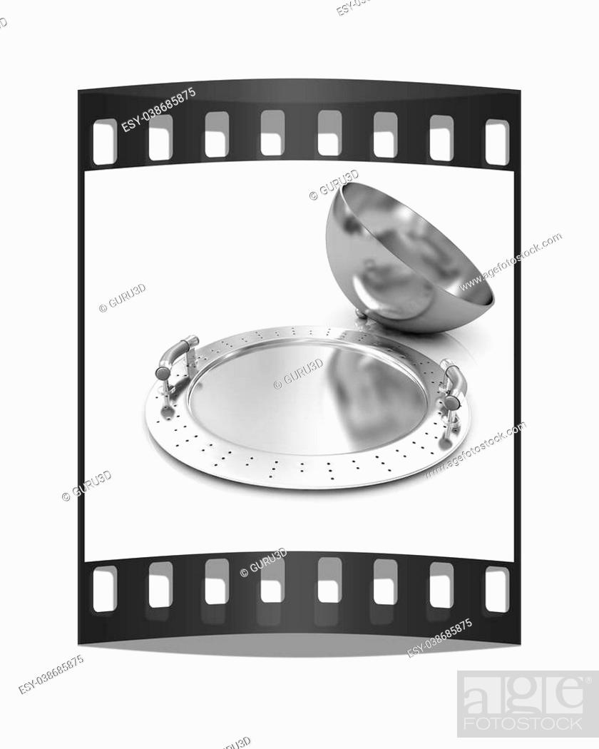 Photo de stock: Restaurant cloche with lid on a white background. The film strip.