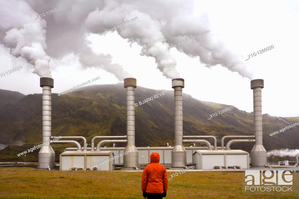 Stock Photo: Nesjavellir Geothermal Power Station, South Iceland  It produces electricity and pumps hot water to the Greater Reykjavík Area.