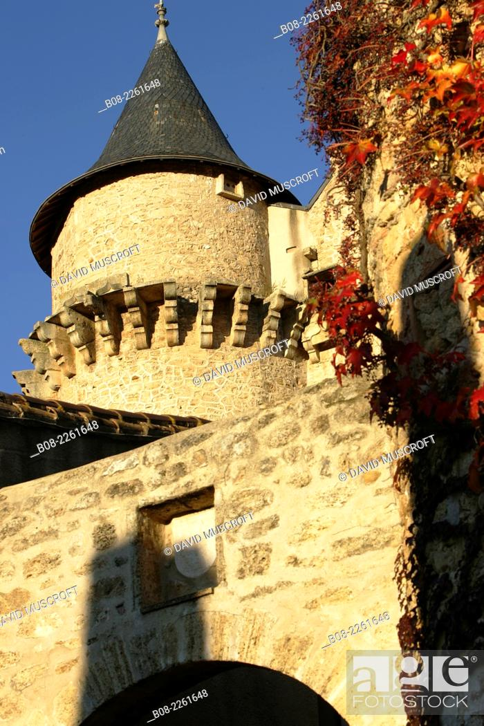 Stock Photo: architecture detail in the village of Margon, Languedoc, southern France.