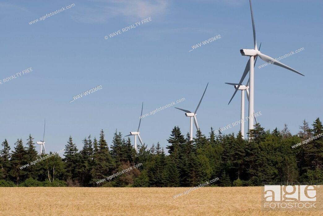 Stock Photo: Wind turbines, near East Point, Prince Edward Island.