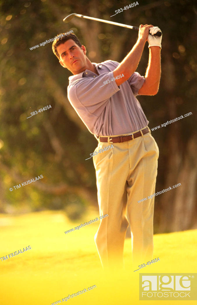 Stock Photo: Man golfing.