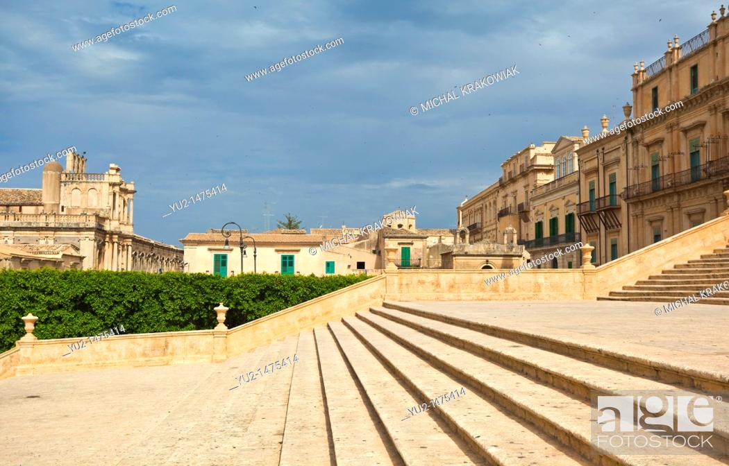 Stock Photo: Steps of Cathedral of Noto Sicily, Italy.