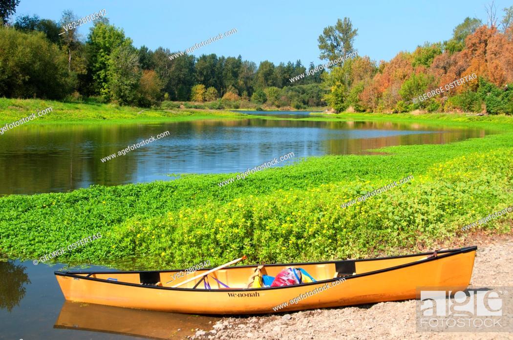 Stock Photo: Canoe at Windsor Island Slough near Willamette River, Willamette Mission State Park, Oregon.