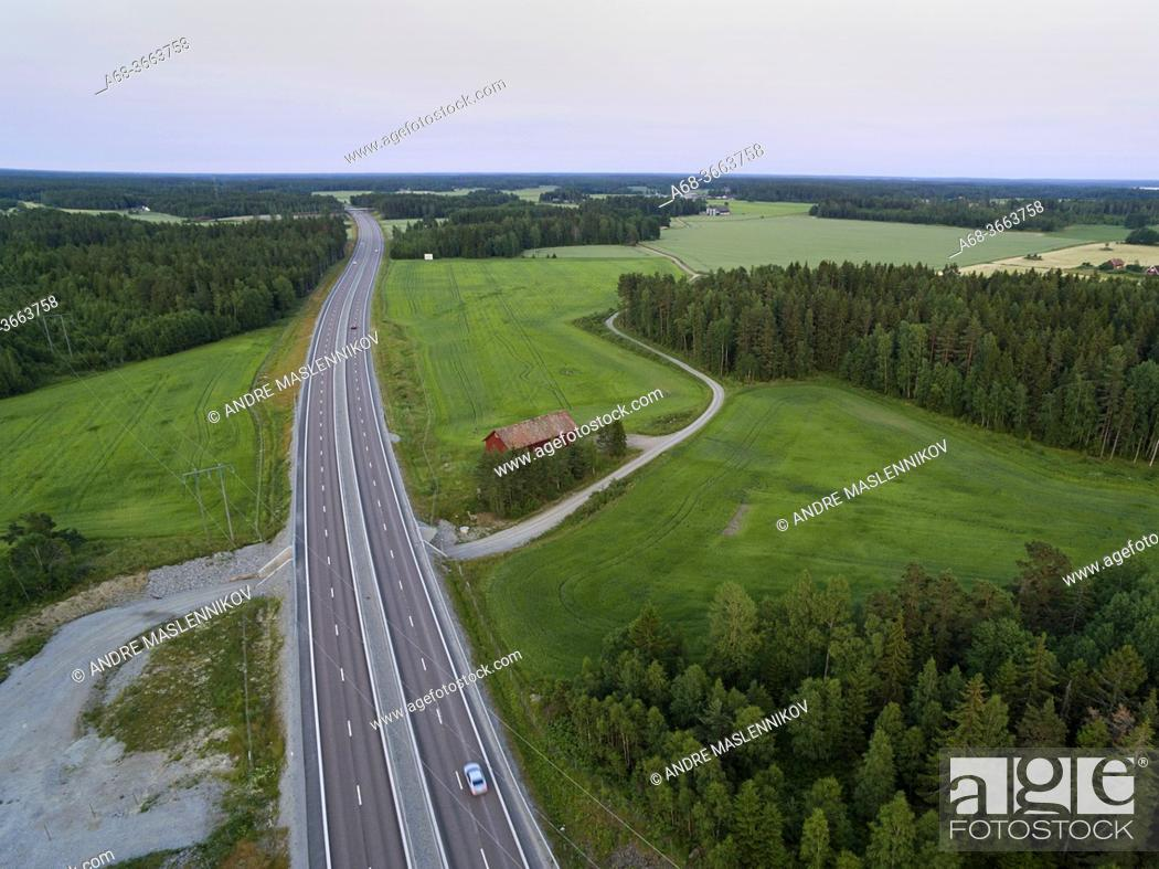 Stock Photo: Aerial photo of the E18 between Västerås and Enköping at Irsta. Sweden.