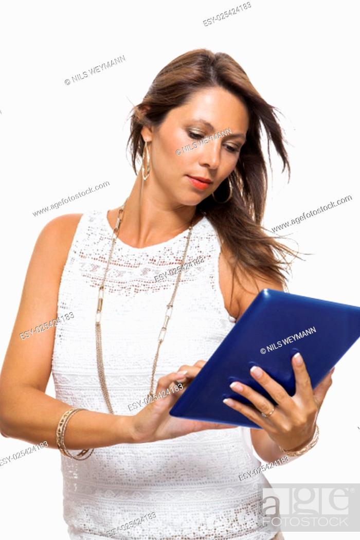 Stock Photo: young attractive woman with tablet pc for presentation with copy space isolated on white background.