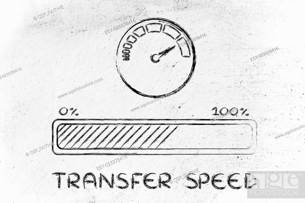Stock Photo: internet and data transfer rate or speed.