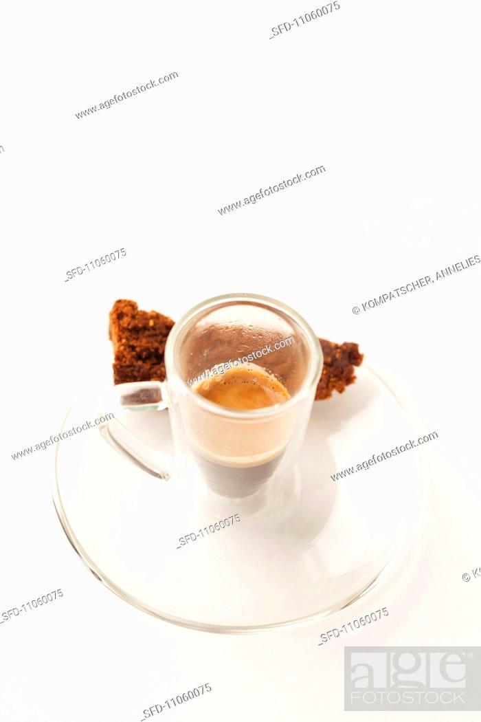 Stock Photo: Un pezzetto di torta al cioccolato espresso and chocolate cake.