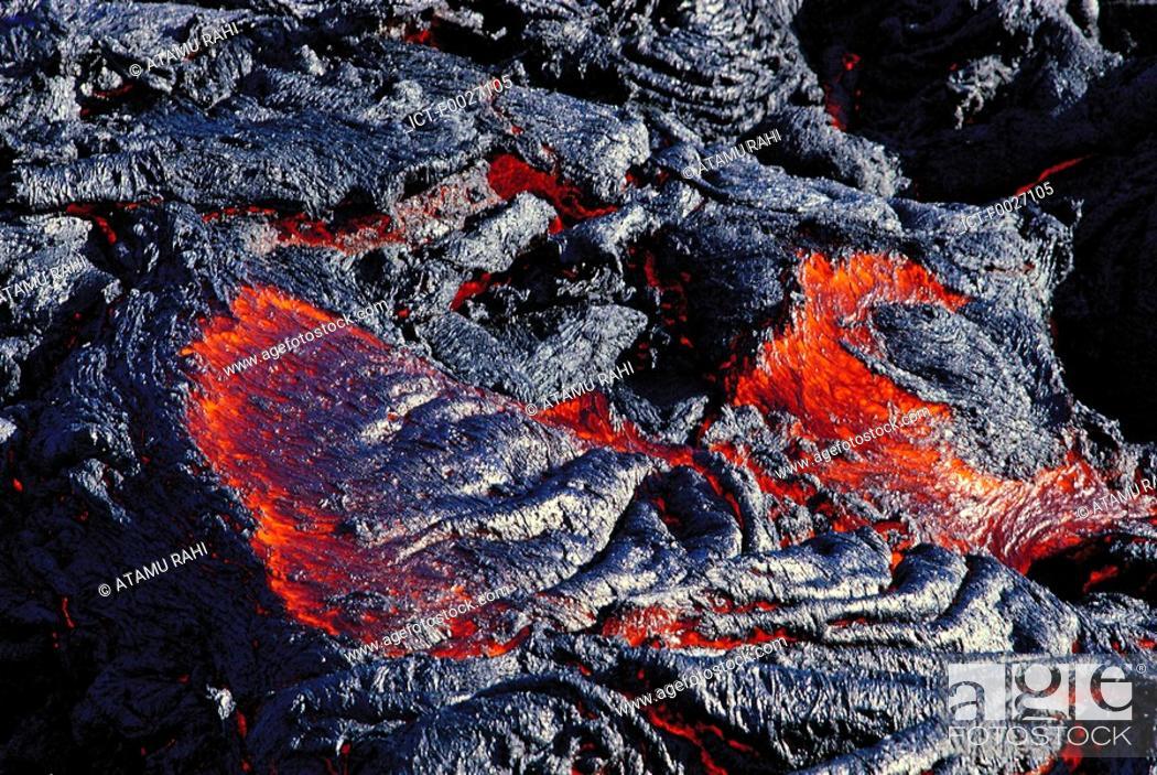 Stock Photo: Reunion, Piton de la Fournaise volcano, incandescent lava.